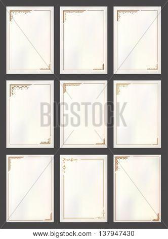 Vector vintage border frame set