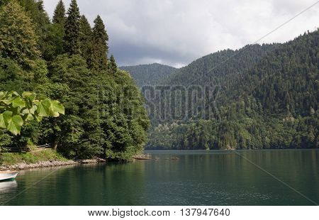Lake Ritsa located in the northern part of Abkhazia, is a lake in the Caucasus Mountains