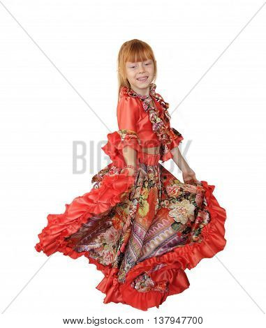 Beautiful girl in a Gypsy dress isolated on white background