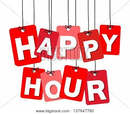 Vector colorful hanging cardboard. Tags - happy hour on white background