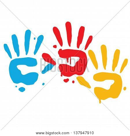 Kid Playful Hand Print Vector Art Illustration