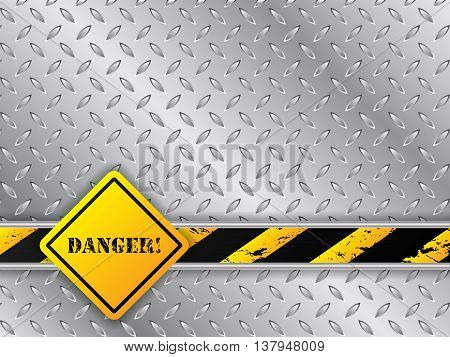 Abstract metallic plate background with traffic sign