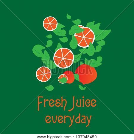 Fresh juice everyday logo in the form of slices of orange and orange halves with leaves that hint at fresh juice and ekologichnost for the company or for design