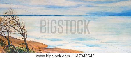 The lake is covered with ice. Oil painting