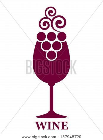 red wine glass and decorative grapes icon