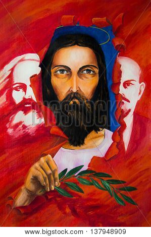 Allegory of changing ideas of communism on Christian values