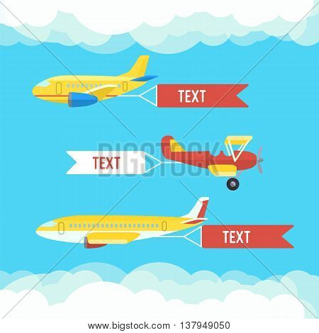 Aeroplane, planes, biplane. Set of colorful flat airplanes with cloud. Vector illustration