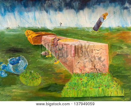 Oil painting. The collapse of the monuments. Allegory of history
