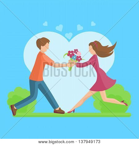 Affection Young couple vector flat style illustration. For your design