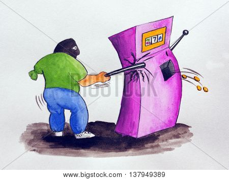 Cartoon hand drawn watercolor. One-armed bandit and slot machine