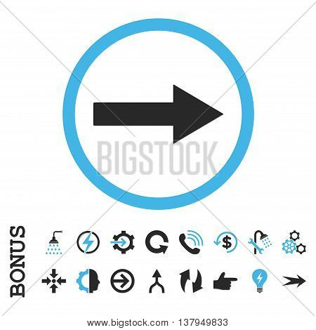 Right Rounded Arrow vector bicolor icon. Image style is a flat pictogram symbol, blue and gray colors, white background.