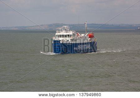 RUSSIA, PORT-CAUCASUS JUNE 11, 2014: Car ferry service between Krasnodar region and the Crimea