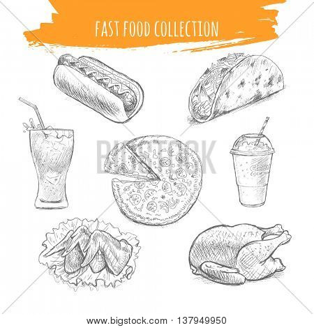 Fast food vector. Hand drawn sketch illustration of street food. Hot dog, cola glass, pizza, spicy chicken wings, Mexican tacos, milkshake, grilled chicken.