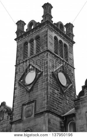 An external view of an old church tower in Alloa