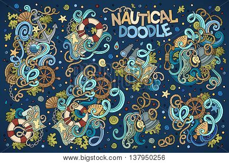 Colorful vector hand drawn Doodle cartoon set of marine, nautical objects and symbols