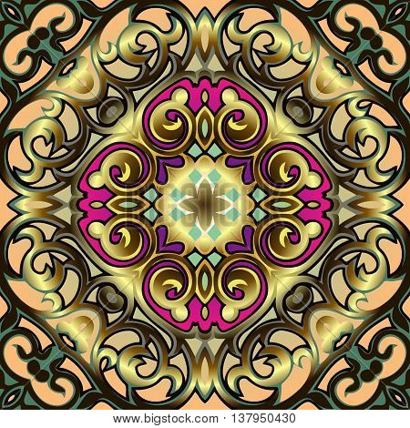Oriental vector pattern with golden damask, arabesque and floral elements. Abstract ornament