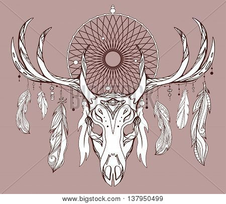 Illustration of a deer skull with antlers dreamcatcher and feathers with boho pattern. Vector doodle element for printing on T-shirts tattoo sketch postcard and your creativity