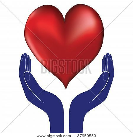 Hands and heart. Icon of kindness and charity vector valentine day