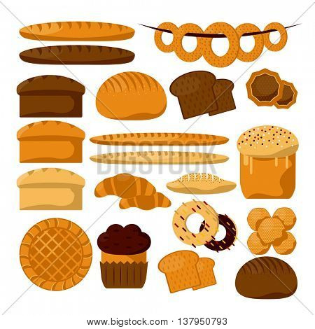 Various sorts of bread. Bakery or pastry product types. Vector icons set. Dough, cupcakes, sweet buns, cakes suitateble for bakery shop. Vector Illustration. Food design elements.