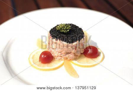 Beluga caviar on crab and prawn mousse