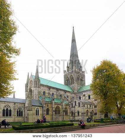 CHICHESTER ENGLAND - OCTOBER 22 2015: Chichester Cathedral founded in the 11th century is dedicated to the Holy Trinity and contains a shrine to Saint Richard of Chichester.