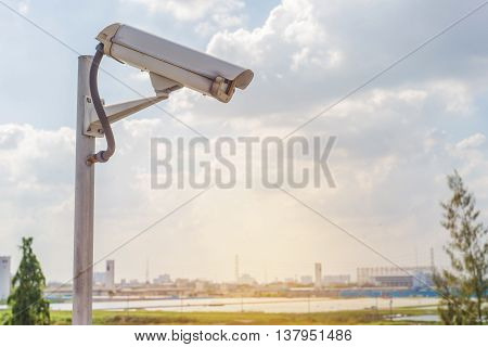 Security Cctv Camera On Road In City