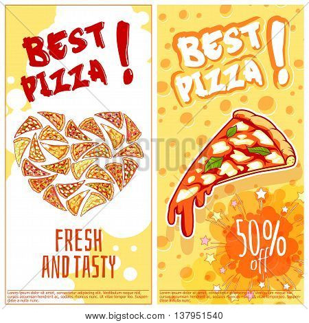 Two vertical orientation flyers for pizzeria. Fresh and tasty pizza. Vector template flayer isolated on a white background.