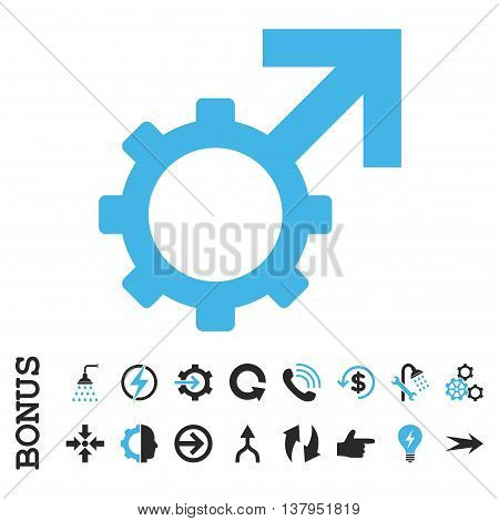 Technological Potence vector bicolor icon. Image style is a flat iconic symbol, blue and gray colors, white background.