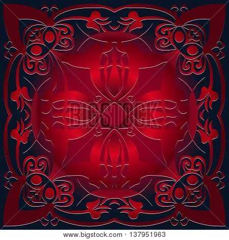 abstract decorative embossed floral pattern sprinkler circular shape in Victorian style on the red background