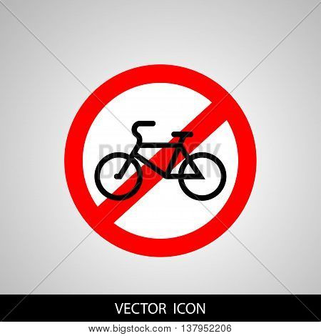 No bicycle bike prohibited symbol. Sign indicating the prohibition or rule. Warning and forbidden. Flat design. Vector illustration.