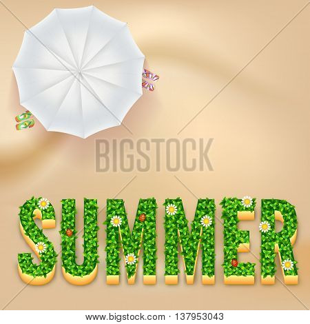 Summer postcard. The inscription Summer with green grass and flowers. Sandy beach with white umbrella and slippers. Background for presentation, booklet, brochure or catalog