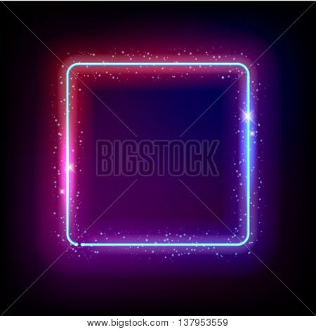 Neon background glow shine abstract vector illustration. Electric neon frame with sparkles. Good for poster banner ad cover design.