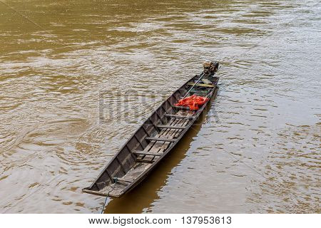 Wooden Boat On Mekong River, Luang Prabang, Laos