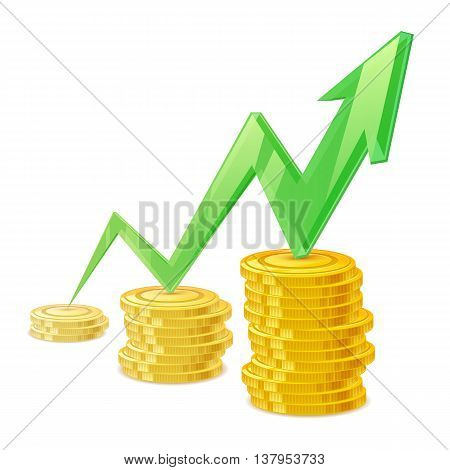 Coins stack vector illustration. Golden money cash. Wealth finance symbol. Green arrow - growing earning income.