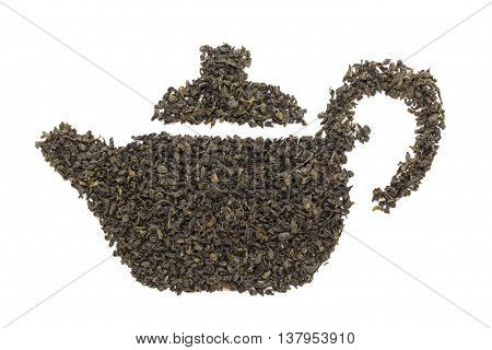 Teapot shape made of organic Green Tea (Camellia sinensis) dried whole leaves. Isolated on white background. Top view.