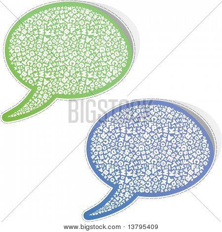 Speech bubbles with letter, mix. Sticker set for sale.