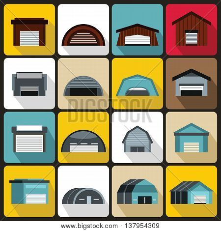 Hangar icons set in flat ctyle. Warehouse set collection vector illustration