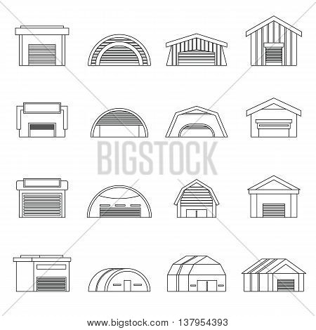 Hangar set in outline ctyle. Warehouse set collection vector illustration