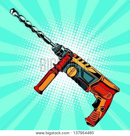 Electric hammer drill is a professional tool for building and repair pop art retro vector, realistic hand drawn illustration. also known as a rotary hammer, roto-drill or hammering drill