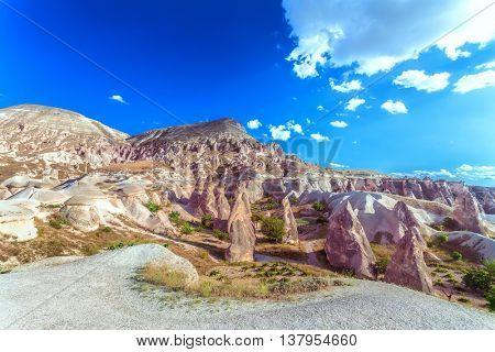 Beautiful landscape with rocks in Cappadocia, Turkey