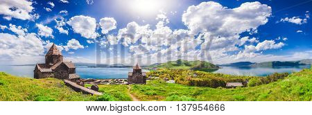 The Sevan temple complex on the peninsula of the Lake Sevan, Armenia.