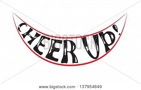 Hand Drawn Black Cheering Lettering Enclosed in Red Smile. Vector EPS10