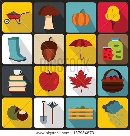 Autumn icons set in flat ctyle. Autumn elements set collection vector illustration