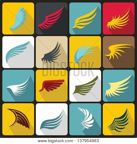 Wing icons set in flat ctyle. Birds and angel wings set collection vector illustration