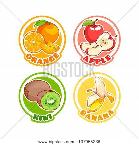 Four stickers with different fruits. Orange apple kiwi and banana. Vector cartoon illustration isolated on a white background.
