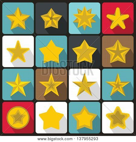 Star icons set in flat ctyle. Yellow stars set collection vector illustration