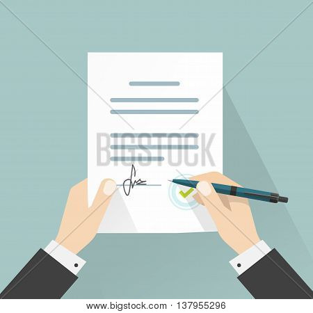 Businessman signing document vector illustration, man hands holding contract signed and pen, legal agreement with signature and stamp top view, flat cartoon design
