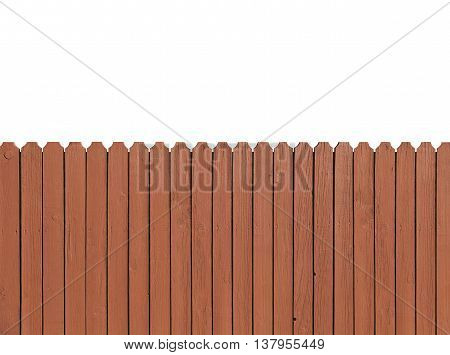Fence wooden parallel bars painted brown. Isolated on a white background. With clipping path.