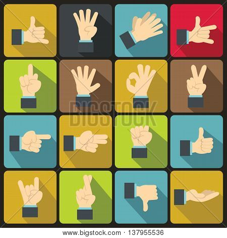 Hand gesture icons set in flat ctyle. Finger language set collection vector illustration