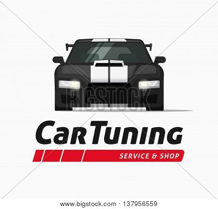 Car tuning shop poster vector banner, sticker symbol, sport auto service centre badge, technology sign, performance parts label, autoservice station ribbon, modern illustration design isolated logo
